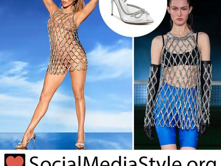 Jennifer Lopez's crystal net dress and lucite pumps