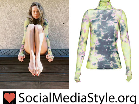Brie Larson's tie dye turtleneck top with thumb holes