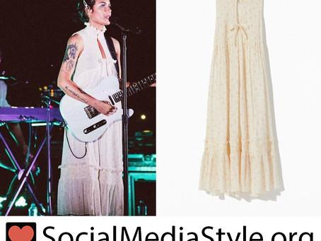 Halsey's white floral print babydoll dress