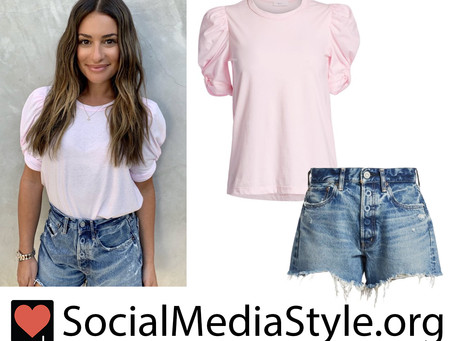 Lea Michele's pink puff sleeve top and distressed denim shorts