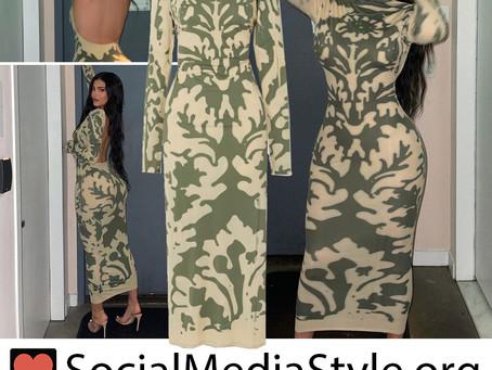 Kylie Jenner's green print open back dress