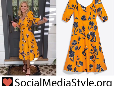 Reese Witherspoon' Draper James marigold floral print dress