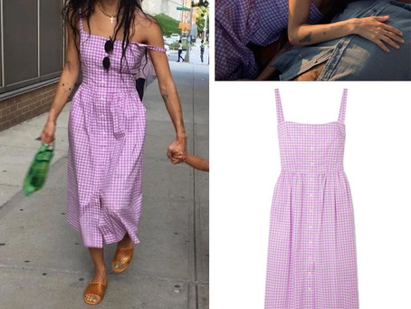Rob (Zoe Kravitz)'s purple gingham dress from High Fidelity