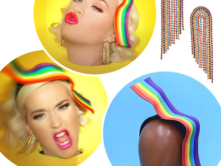 Katy Perry's rainbow fringe earrings and fascinator from her Can't Cancel Pride music video