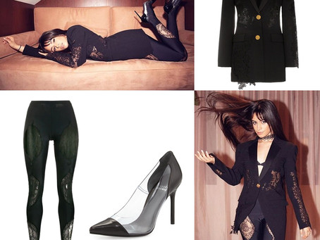 Camila Cabello's black lace inset blazer and leggings and pvc pumps