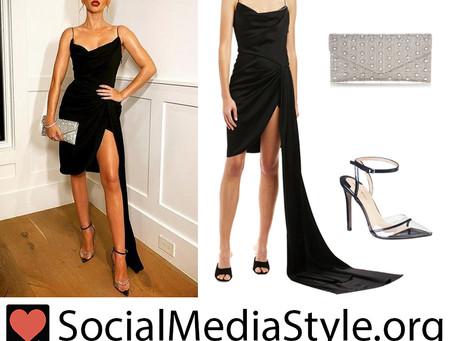 Sarah Hyland's black draped dress, beaded clutch, and pvc pumps