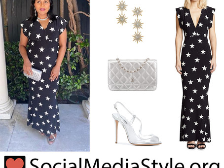 Mindy Kaling's star print dress and silver accessories