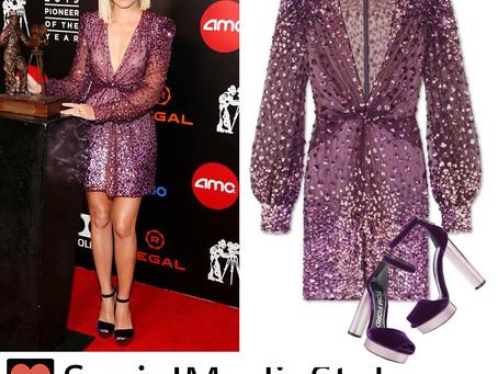 Elizabeth Banks' purple sequin dress and velvet platform sandals