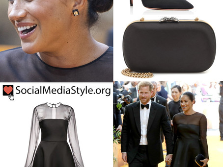 "Meghan Markle's black dress and accessories from the European Premiere of ""The Lion King"""