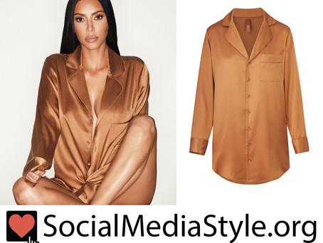 Kim Kardashian's Skims bronze silk button up night dress