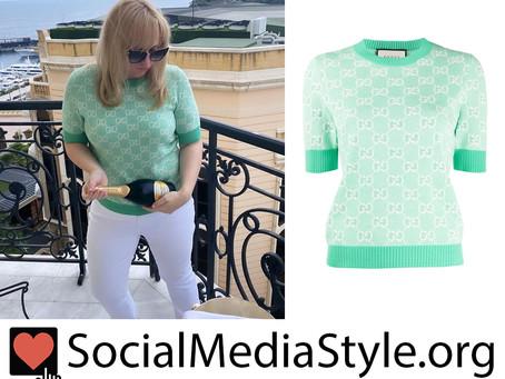 Rebel Wilson's Gucci mint green short sleeve sweater