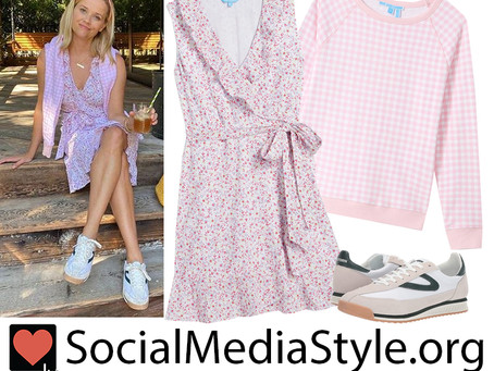 Reese Witherspoon's pink floral print dress, gingham sweatshirt, and sneakers