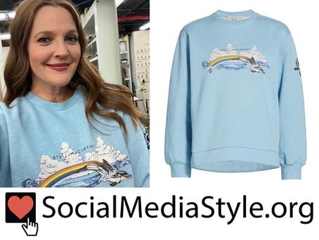 Drew Barrymore's rainbow dolphin sweatshirt