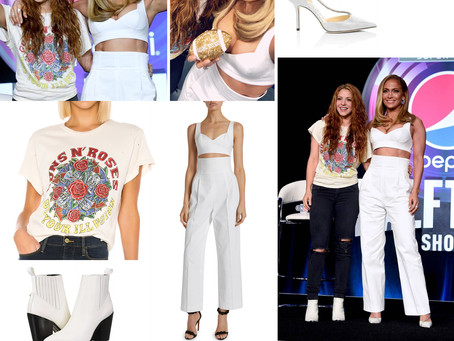 Jennifer Lopez and Shakira's outfits from the Pepsi Super Bowl LIV Halftime Show Press Conference