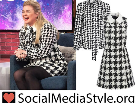 Kelly Clarkson's houndstooth blouse and dress from The Kelly Clarkson Show