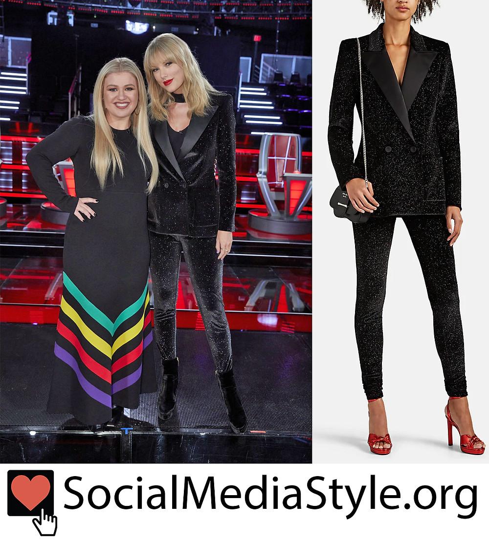 Taylor Swift S Black Glitter Velvet Blazer And Leggings From The Voice