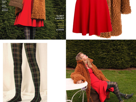 Taylor Swift's teddy coat, red dress, plaid tights, and chain sandals from Entertainment Weekly