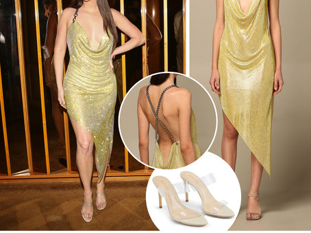 Kacey Musgraves' draped gold crystal dress and pvc sandals from a Met Gala Afterparty