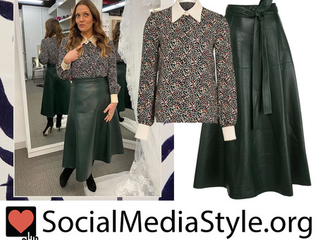 Drew Barrymore's floral print collar shirt and green leather skirt from The Drew Barrymore Show