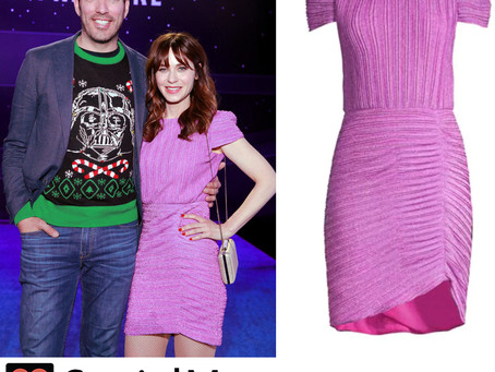 "Zooey Deschanel's pleated purple dress from the ""Star Wars: The Rise Of Skywalker"" Premiere"