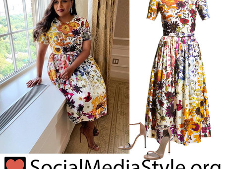 Mindy Kaling's ombre floral print dress and brown sandals