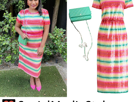 Mindy Kaling's sequin striped dress and green purse