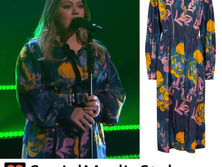 Kelly Clarkson's floral print shirtdress form The Kelly Clarkson Show