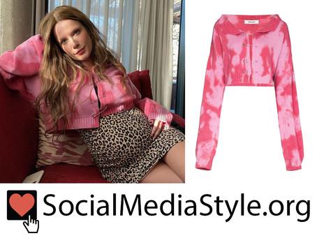 Halsey's pink tie dye safety-pin cardigan