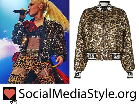 Gwen Stefani's sequin leopard print bomber jacket