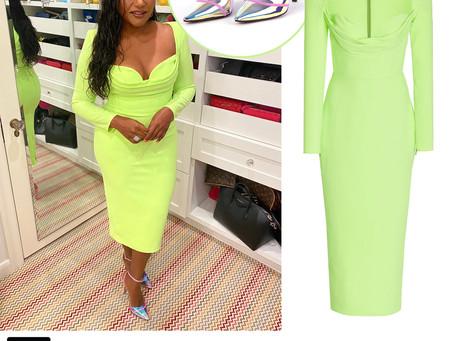 Mindy Kaling's neon green dress and pink iridescent pvc pumps