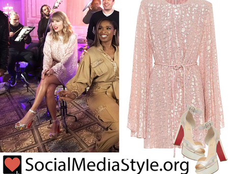 Taylor Swift's pink metallic animal print dress and platform sandals from The Tonight Show