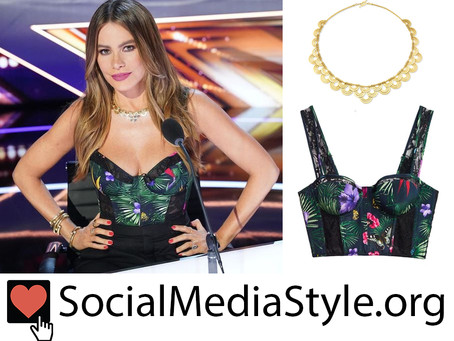 Sofia Vergara's necklace and tropical print bustier from America's Got Talent