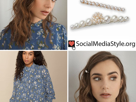 Lily Collins' pearl barrette and blue floral print dress