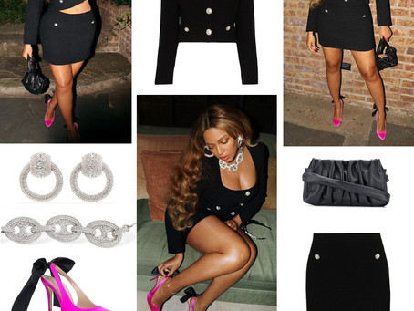 Beyonce's crystal jewelry, black jacket and skirt, draped clutch, and bow detail fuchsia pumps
