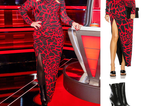 Kelly Clarkson's red giraffe print dress and black platform boots from The Voice
