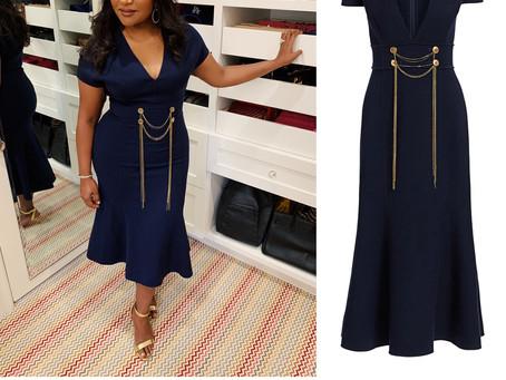 Mindy Kaling's navy chain embellished dress