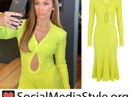 Jennifer Lopez's ribbed neon yellow cutout dress