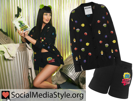 Kacey Musgraves' Moschino Sesame Street cardigan and shorts