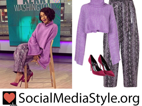 Kerry Washington's purple turtleneck sweater, python pants, and suede pumps from The Today Show