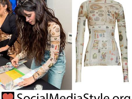 Camila Cabello's Victorian print sheer top