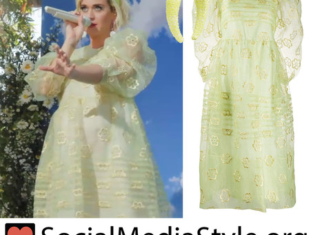 Katy Perry's neon padded headband and puff sleeve dress from Good Morning America
