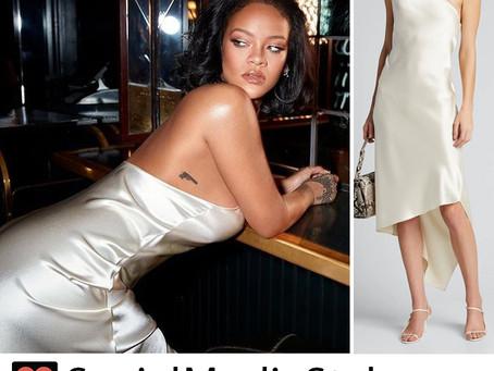Rihanna's white one shoulder slip dress