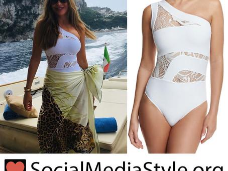 Sofia Vergara's white one shoulder lace panel swimsuit