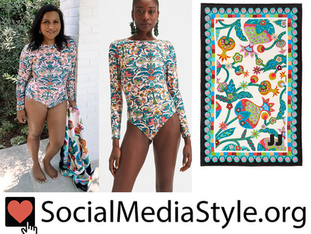 Mindy Kaling's long sleeve print swimsuit and towel