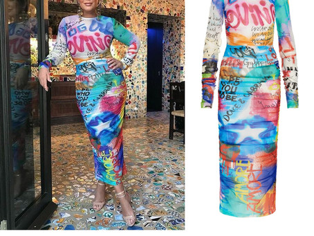 Kris Jenner's graffiti print dress