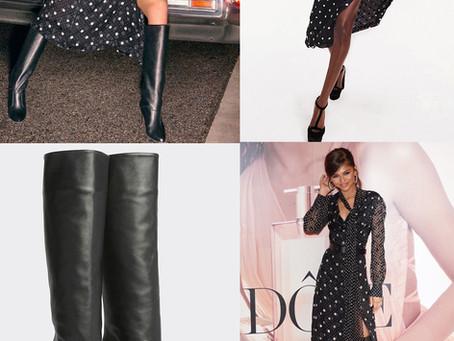 Tommy Hilfiger x Zendaya polka dot dress and black boots