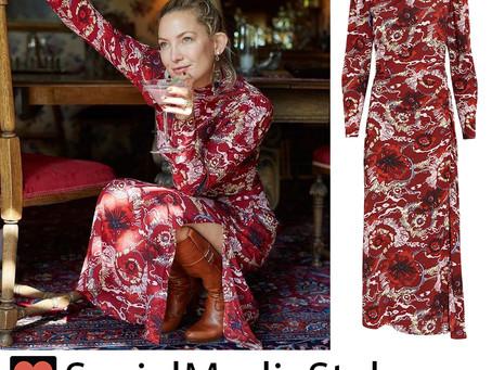 Kate Hudson's red floral print dress