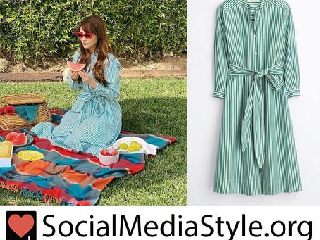Zooey Deschanel's green and white striped shirt dress
