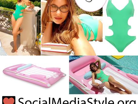 Sofia Vergara's eyeglasses, green cutout swimsuit, and pink convertible pool float