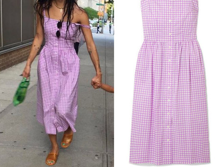 Zoe Kravitz's purple gingham dress